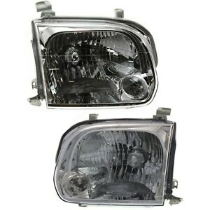 Halogen Headlight Set For 2005 2006 Toyota Tundra Double Cab W Bulbs Pair