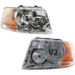 Headlight Set For 2003 2006 Ford Expedition Left And Right Chrome Housing 2pc