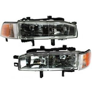 Headlight Set For 92 93 Honda Accord Driver And Passenger Side W Bulb
