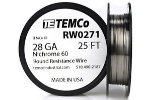Temco Nichrome 60 Series Wire 28 Gauge 25 Ft Resistance Awg Ga
