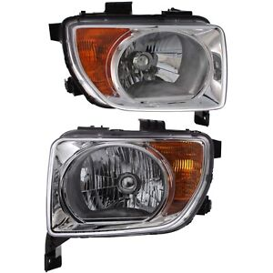 Headlight Set For 2003 2004 2005 2006 Honda Element Left And Right With Bulb 2pc