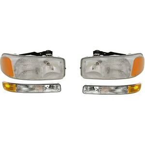 Headlight Kit For 99 2006 Gmc Sierra 1500 2001 2006 Sierra 3500 4pc