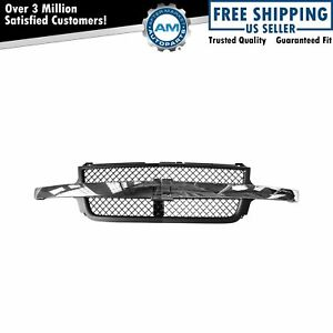 Center Bar Grille Dark Gray Honeycomb Chrome For 01 02 Silverado 2500 3500 Hd