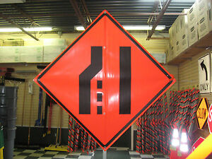 Merge Right Symbol Fluorescent Vinyl W Ribs 48 x48 Roll Up Construction Sign