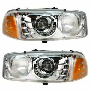 Headlights Headlamps Pair Set For 01 06 Gmc Sierra Yukon Pickup Truck Denali