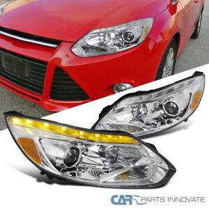 For Ford 12 14 Focus Clear Projector Headlights Head Lamps Led Signal Strip Pair