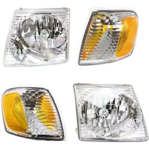 Headlight Headlamp Park Light Lamp Kit Set Of 4 For Ford Explorer Sport Trac New
