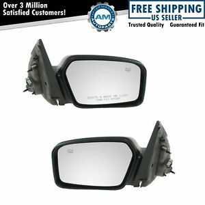Side View Mirrors Heated Puddle Light Smooth Black Pair Set For Fusion Milan New