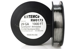 Temco Kanthal A1 Wire 29 Gauge 1000 Ft Resistance Awg A 1 Ga