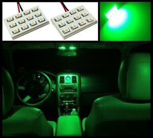 2 Super Green 12 Led Interior Dome Map Light Smd Panels Xenon Bulbs Hid Lamp A4