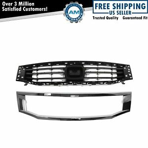 Grille Black Chrome Frame Trim Set For 08 10 Honda Accord Sedan