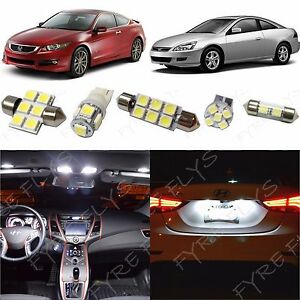 White Led Interior Map Dome Lights Package Kit 2003 2012 Honda Accord Tool Ha1w