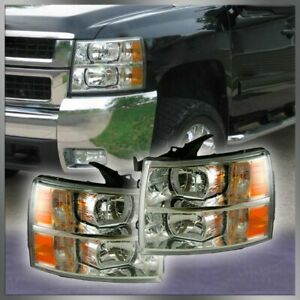 Headlights Lamps Left Right Pair Set For Chevy Silverado Pickup Truck New