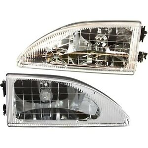 Headlight Set For 94 98 Ford Mustang Left And Right Crystal With Bulb 2pc