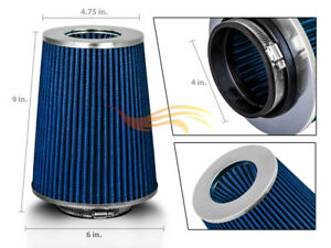 Blue 4 Inches 4 102mm Inlet Cold Air Intake Cone Long Truck Filter For Gmc