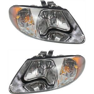 Headlights Headlamps For 2001 2007 Chrysler Town Country Voyager Dodge Caravan
