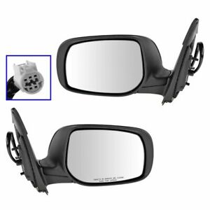 Mirrors Power Heated Gloss Black Left Right Pair Set For 09 13 Toyota Corolla