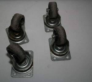 Vintage Set Of 4 Industrial Cast Iron 2 1 2 Wheel Bassick Swivel Casters 261