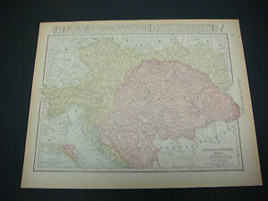 1914 Rand Mcnally Atlas Map Page Austria German Empire Color Suitable To Frame