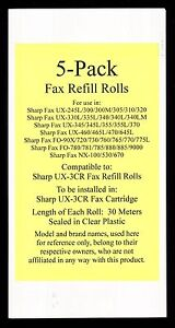 5 pack Of Ux 3cr Fax Refill Rolls For Sharp Ux 300 Ux 300m Ux 305 Ux 310 Ux 320