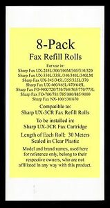 8 pack Of Ux 3cr Fax Refill Rolls For Sharp Ux 345 Ux 345l Ux 355 Ux 355l Ux 370