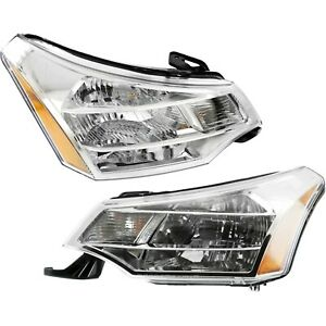 Headlight Set For 2008 2011 Ford Focus Left And Right Chrome Housing 2pc