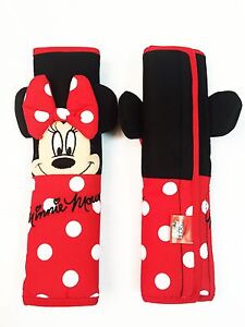 Minnie Mouse Disney Car Accessory Red 2 Pieces Seat Belt Shoulder Pads Covers