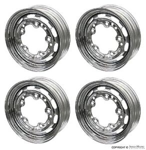 Steel Drum Brake Wheel Set 4 Chrome 15 x4 1 2 Porsche 356a 356b 55 63