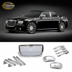 Fit 05 10 Chrysler 300 Chrome Front Grille door Handle mirror Cover pillar Panel