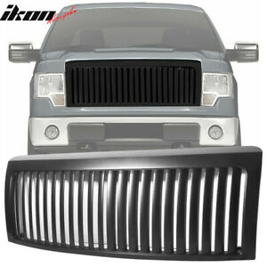 Fits 09 13 Ford F150 Vertical Front Bumper Hood Grill Grille Black Vip