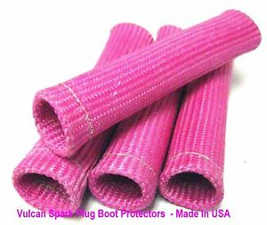 Pink Vulcan Heat Protector Sleeve Spark Plug Wire Boots 4 Cyl Made In Usa