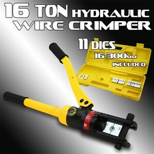 16 Ton Wire Crimper Hydraulic Tool 11 Dies Cable Battery Terminal Electrical Hd