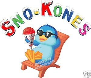 Sno kones Snow Cones Shaved Ice Concession Trailer Cart Food Truck Decal 14