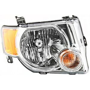 Headlight For 2008 2012 Ford Escape Right Chrome Housing With Bulb