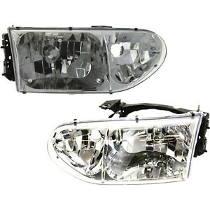 Headlight Set For 99 2000 Nissan Quest Driver And Passenger Side W Bulb