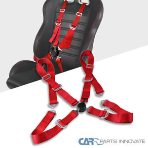 Red 4 point Camlock Saftey Seat Belt 4pt Racing Harness