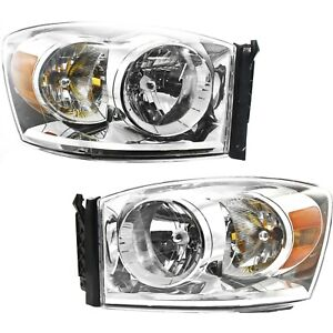 Headlight Set For 2007 2009 Dodge Ram 1500 Left And Right With Bulb 2pc