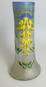 Fine 10 Legras Art Nouveau Enameled Glass Vase W Butterflies C 1910 Antique