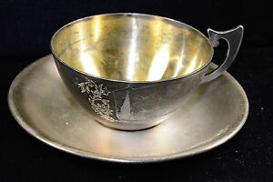 Russia 1917 91 875 Silver Early Ussr Gilt Tea Cup Saucer 124g Moscow Engraved