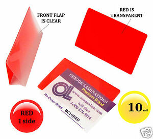500 Pcs Red 1 Side Business Card Laminating Pouches 2 1 4 X 3 3 4 Hot 10 Mil