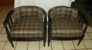 Pair Of Retro Barrel Back Armchairs Club Chairs Ac103