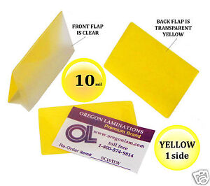 500 Pc Yellow Back Business Card Hot Laminating Pouches 2 1 4 X 3 3 4 10 Mil