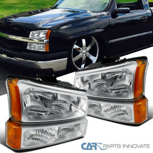 Fit 03 07 Chevy Silverado Avalanche Pickup Clear Headlights Parking Bumper Lamps