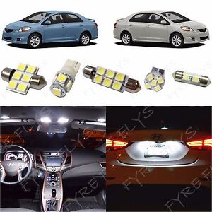 6x White Led Lights Interior Package Kit For 2007 2012 Toyota Yaris Sedan Ty1w