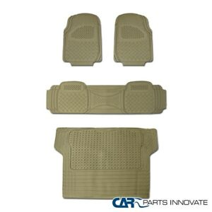 4x Semi Custom Beige Heavy Duty Pvc Rubber Front Rear Cargo Floor Carpets Mats