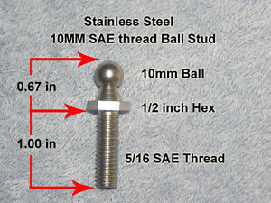 Rv Marine Trailer Bus Gas Spring Strut Stainless Steel Ball Stud Ss 1in Shank