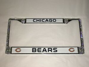 Chicago Bears Nfl Clear Bling License Plate Frame Made With Swarovski Crystal