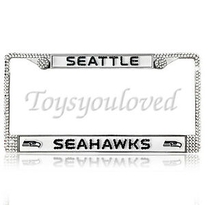 Seattle Seahawks Football Bling License Plate Frame Made With Swarovski Crystal