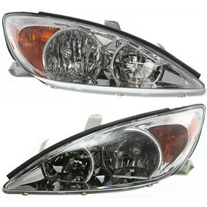 Headlight Set For 2002 2004 Toyota Camry Sedan Left And Right Chrome Housing 2pc