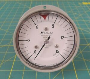Moeller 0 To 15 Psi Pressure Gauge 3 5 Dial 1 4 npt Back Connection